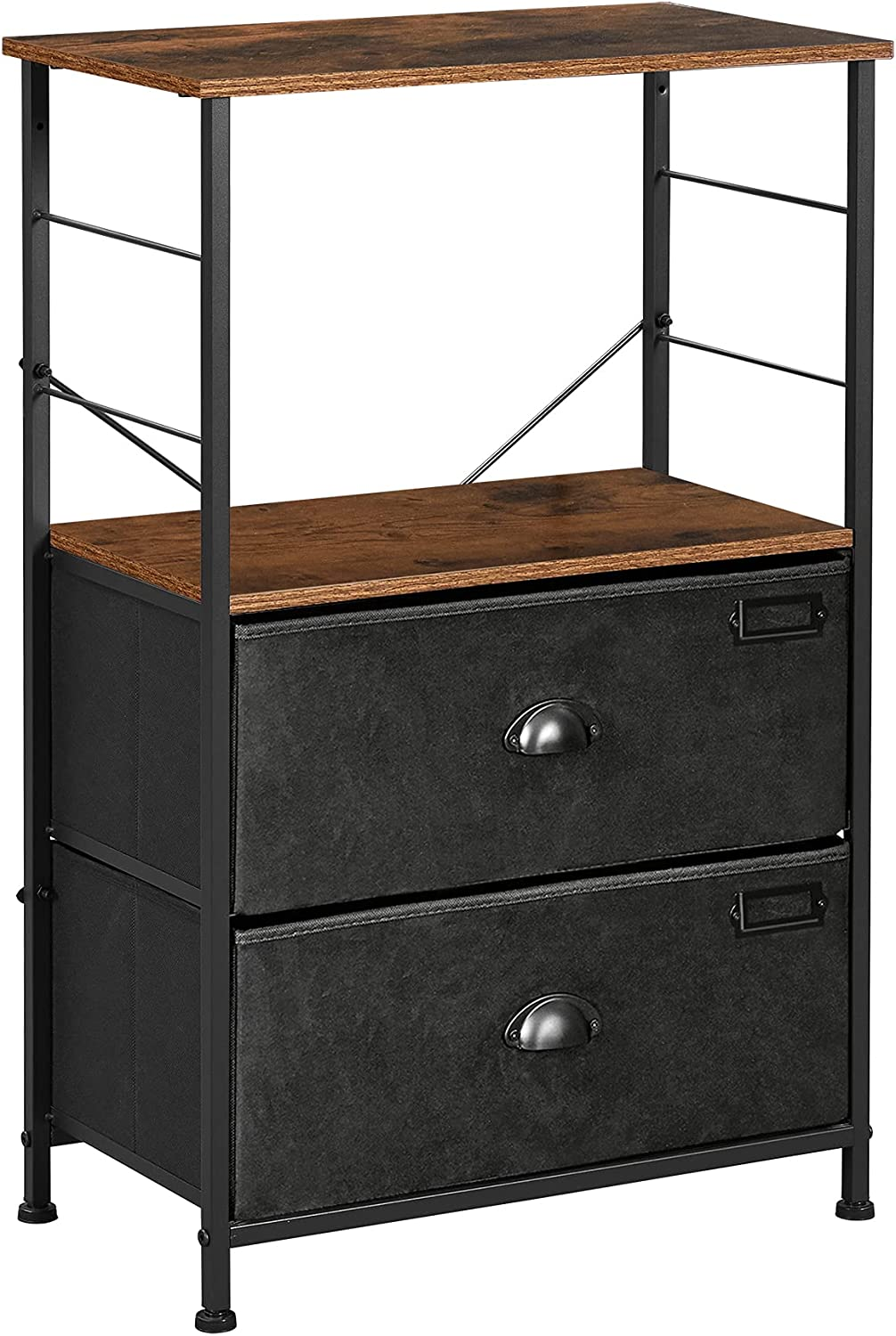 SONGMICS Nightstand Industrial Bedside Our shop OFFers the best service Fees free!! Table 2 Draw Fabric with