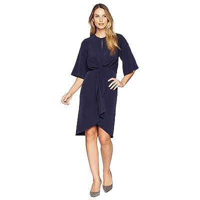 Maggy London Feather Crepe Tie Front Blouson Dress (Navy) Women