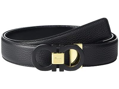 Salvatore Ferragamo Adjustable Reversible Belt 679941 (Black/Black) Men