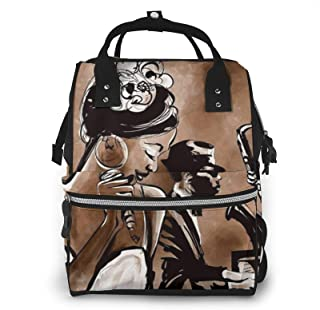 Afro American Woman Singing Print Diaper Bag Backpack,Multi-Function Maternity Nappy Bags For Travel,Large Capacity,Waterp...