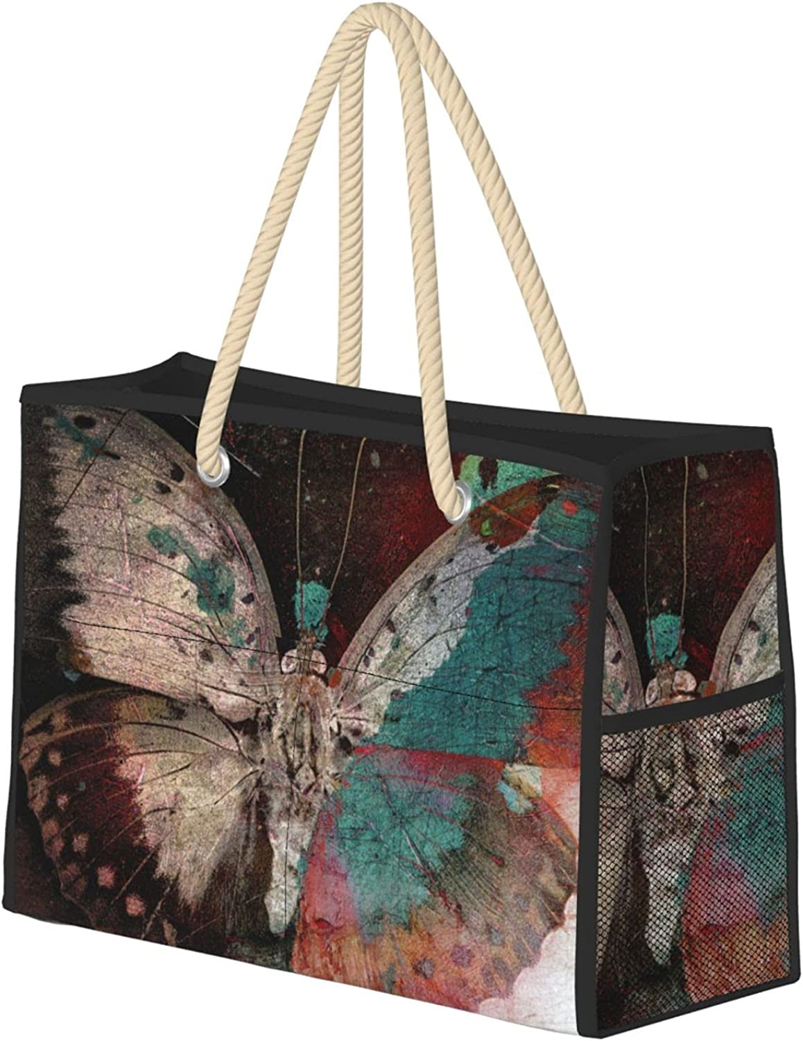 Butterfly Grunge Image Women Beach Tote Bag Limited time for free shipping Tr With Zipper Special Campaign Large