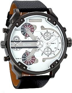 Avaner Casual Fashion Mens Big Face Round Dial Dual Time Zone Analog Display Quartz Movement PU