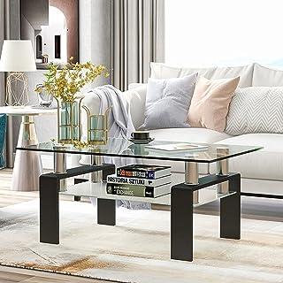 میز قهوه شیشه ای مستطیل Meihua میز چای 2 لایه میز قهوه کناری مدرن برای اتاق نشیمن سیاه