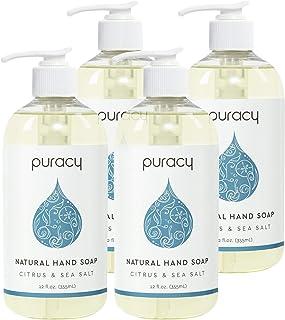 Puracy Natural Liquid Hand Soap, Citrus & Sea Salt, Sulfate-Free Gel Hand Wash, 12 Ounce (4-Pack)
