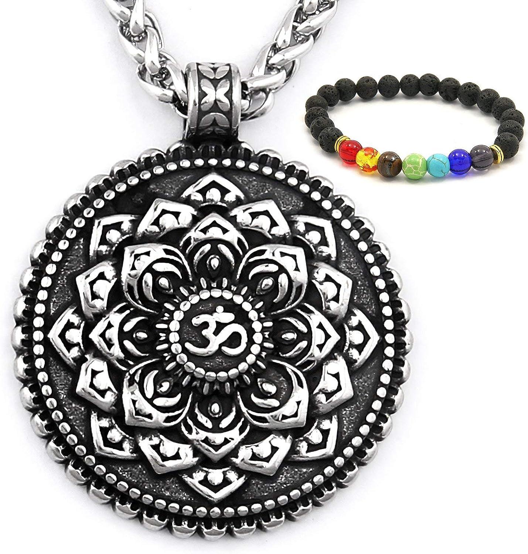 GUNGNEER Ohm Mandala Necklace Lotus Pendant Stainless Steel Meditation Strength Amulet Om Jewelry Gift Men Women
