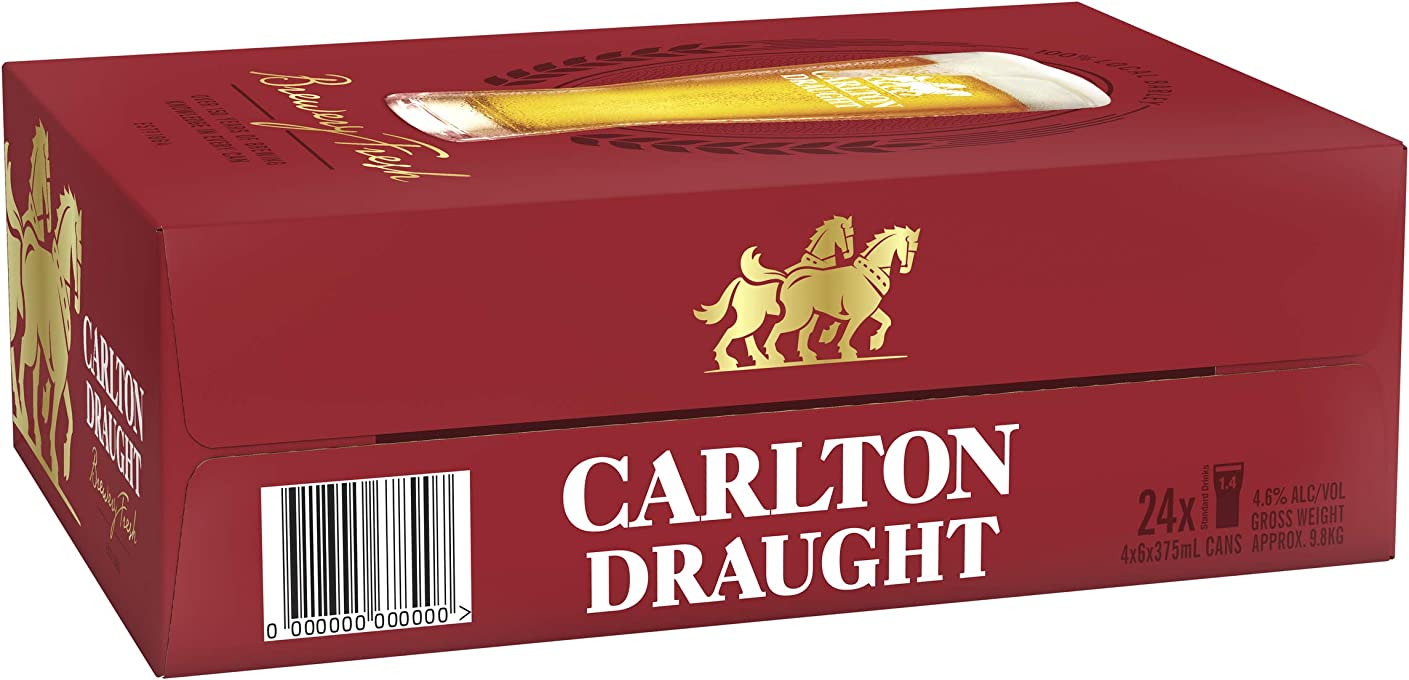 Carlton Draught Beer Case 24 x 375ml Cans