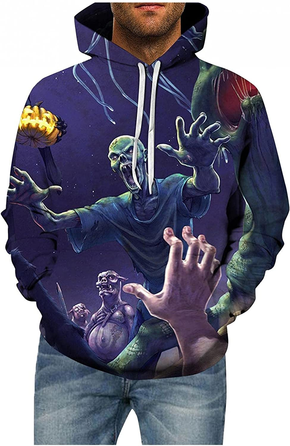 XUNFUN Skeleton Hoodies for Men Plus Size Funny Halloween 3D Printed Graphic Sweatshirts Casual Comfy Pullover Tops Blouse