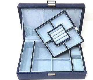 Di Grazia Jewellery Storage Box, 3 Layer Watch Ring Earrings Necklace Bracelet Organiser, Portable Travel Box (Blue, Blue-...