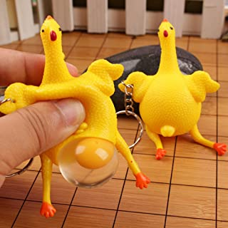 Egg-Laying Chicken Keychain, Elevin(TM) Funny Squishy Squeeze Toys Chicken and Eggs Key Chain Ornaments Stress Relieve