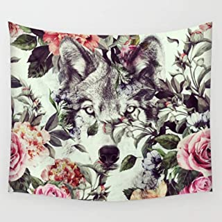 KRWHTS Wolf Tapestry Wall Hanging Boho Wolf with Colorful Flowers Feathers Rainbow Tapestries Hippie Tapestry Wall Decor