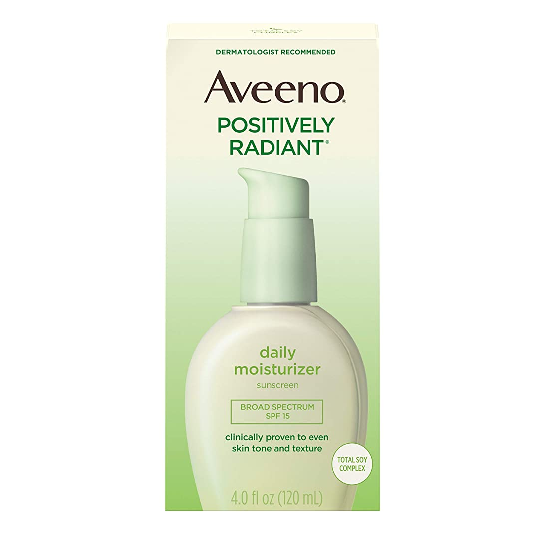 害悔い改める抱擁Aveeno Positively Radiant Skin Daily Moisturizer, SPF 15, 4 Ounce Bottle