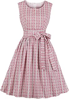 Wellwits Women's Crew Neck Print Elegant 1950s 50s Vintage Dress with Waist Tie