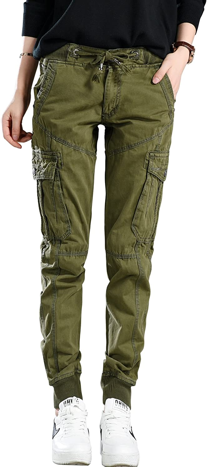 chouyatou Women's Casual Loose Fit Camouflage Print Twill Cargo Pants