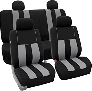 FH GROUP FH-FB036114 Striking Striped Full Set Car Seat Covers (Airbag & Split Ready) Gray/Black Color- Fit Most Car, Truck, SUV, or Van