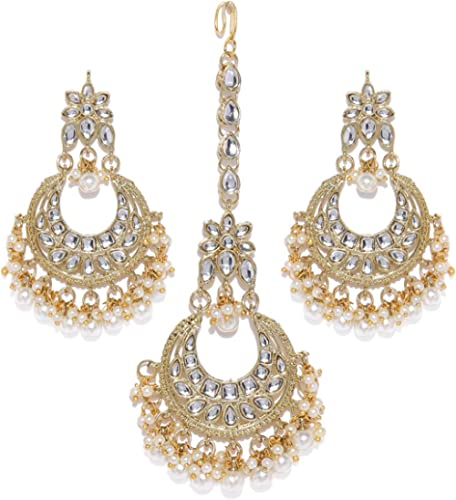 Zaveri Pearls Gold Tone Kundan & Pearls Traditional Earring & Maangtikka Set For Women-ZPFK8537