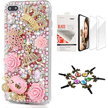 STENES Bling Case Compatible with iPhone XR - Stylish - 3D Handmade [Sparkle Series] Crown Flowers Ballet Girls Pumpkin Car Flowers Design Cover with Screen Protector [2 Pack] - Pink