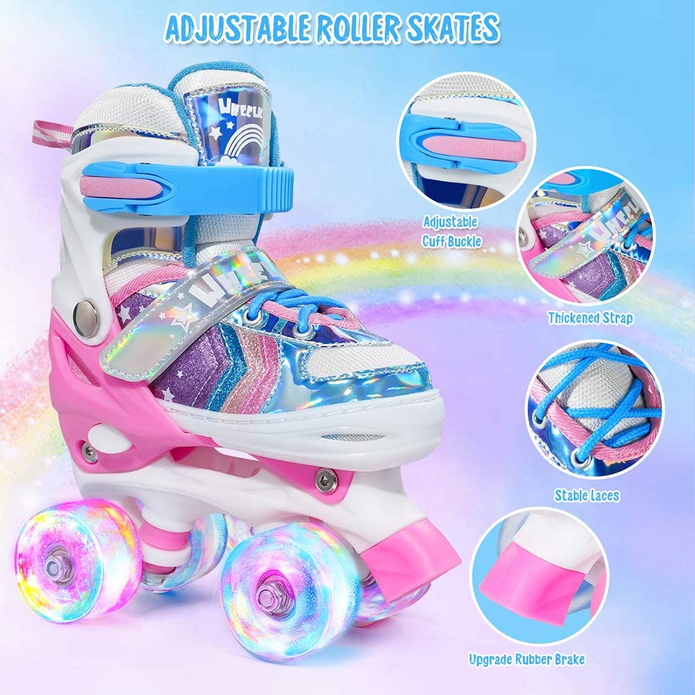 Wheelkids Roller Skates for Girls Kids Roller Skates for Toddlers Children Outdoor Indoor Adjustable 4 Sizes with Light Up Wheels