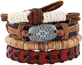 Bullidea Leather Hemp Rope Weave Wrap Bracelet Men's Vintage Beaded Charming Bracelet Alloy