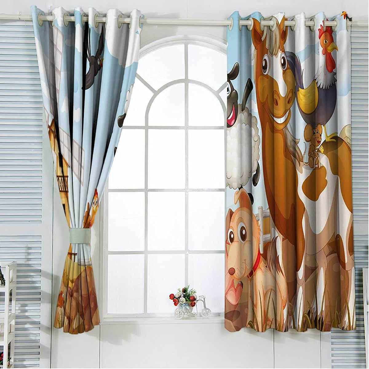 Kids Black Curtains for Bedroom 39 Inch Length Pale Blue and Bro