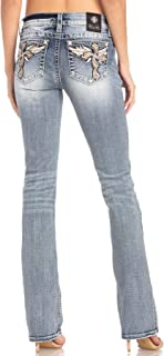 Women's Feathered Cross Embellished Slim Boot Cut Jeans