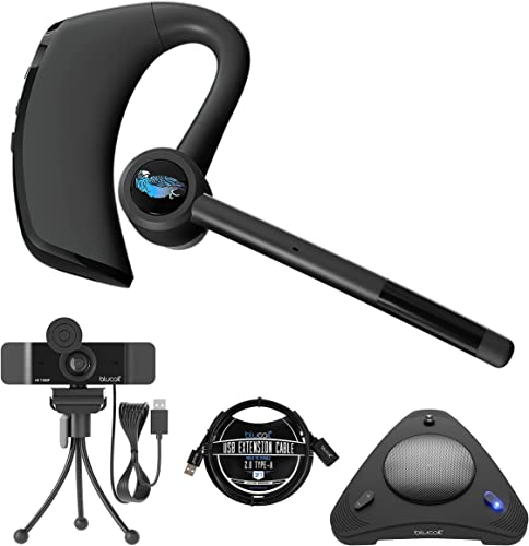 2021 BlueParrott M300-XT in Ear Bluetooth Headset with Noise Cancelling Microphone for iOS & Android Bundle with Blucoil 1080p USB Webcam, USB Conference Speakerphone, online and 3' wholesale USB Extension Cable outlet online sale