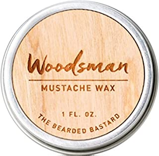 Woodsman Mustache Wax 1 Ounce Tin of Strong All Day Hold Mustache Wax, with Beeswax, Lanolin and Jojoba Oil, Men's Care Great Smelling Facial Hair Products