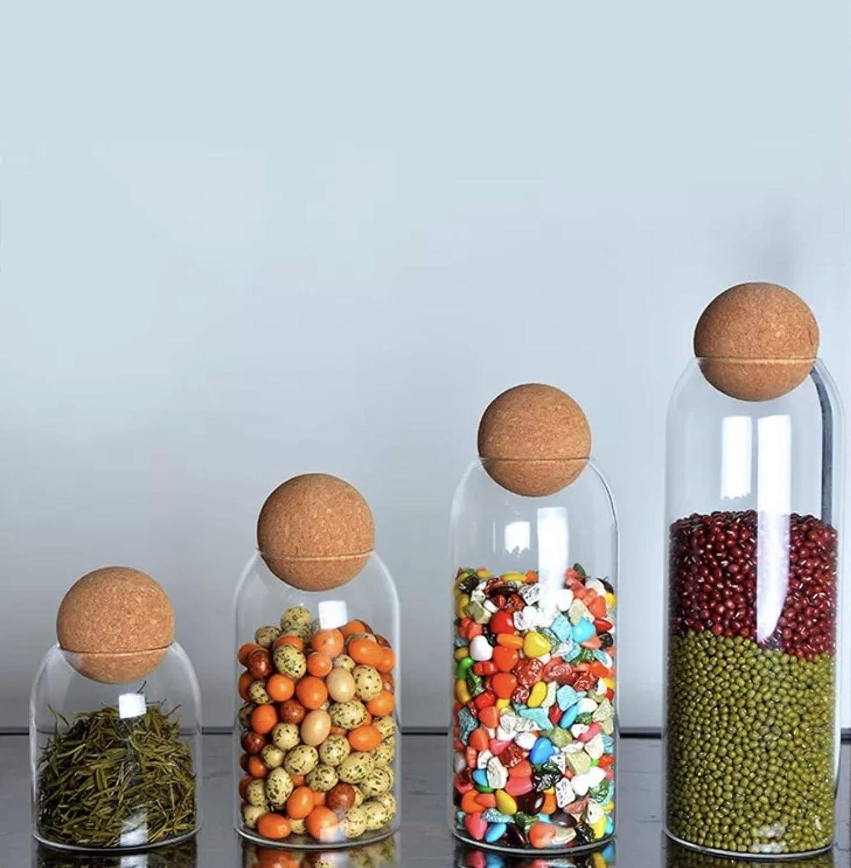 Mezositi Glass storage jars with Airtight Max 83% OFF round ball Cork f Lid Very popular