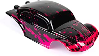 Custom Body Muddy Neon Red Over Black Compatible for 1/10 Scale RC Car or Truck (Truck not Included) STB-NR-01