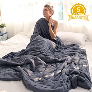 "Isilila Glass Weighted Blanket 60"" x 80"" 15 lbs/ 20 lbs - Queen Size Cotton Provide Comfortable Sleep Quality for Kids & Adults (Gray, 60""x80"", 20 lbs)"