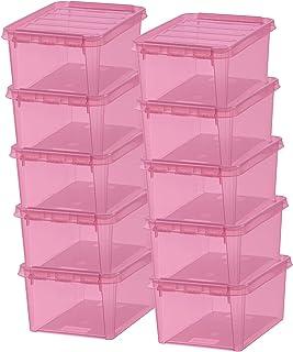 Lot de 10 Boîtes de Rangement - Rangez Votre Maison avec Style et Praticité - Colour 10 - Rose Transparent - Plastic - 34 ...