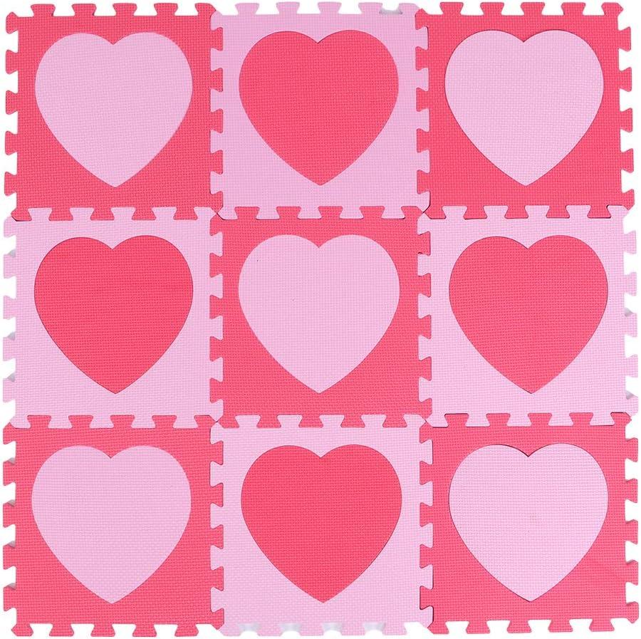 9Pcs Non Toxic Max 56% OFF Play Mat Heart Daily bargain sale Foam Pattern Puzzles Interloc Pink