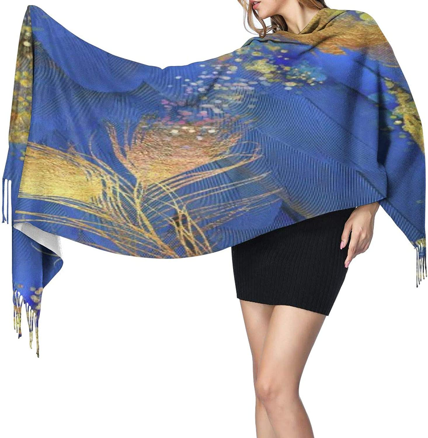 Cashmere fringed scarf Fantasy Peacock Feather Floral winter extra large scarf