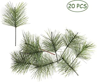 yalansmaiP 20 Pieces Artificial Pine Needles Branches, Faux Sprigs Greenery Pine Twigs Stems Picks DIY Accessories for Garland Wreaths for Christmas Holiday Home Garden Decor