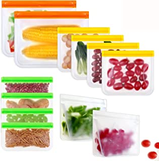 BRITOR Reusable Storage Bags,Leakproof Slicone & Plastic Free,(12Pack-2 Large 4 Sandwich & 4 Snack Bags & 2 Lunch Bags)
