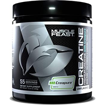 MUSCLE FEAST Creapure Creatine Monohydrate Powder   Premium Pre-Workout or Post-Workout   Easy to Mix, Gluten-Free, Safe and Pure, Kosher Certified (300g, Unflavored)