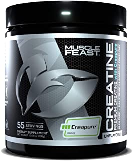 MUSCLE FEAST Creapure Creatine Monohydrate Powder | Premium Pre-Workout or Post-Workout | Easy to Mix, Gluten-Free, Safe a...