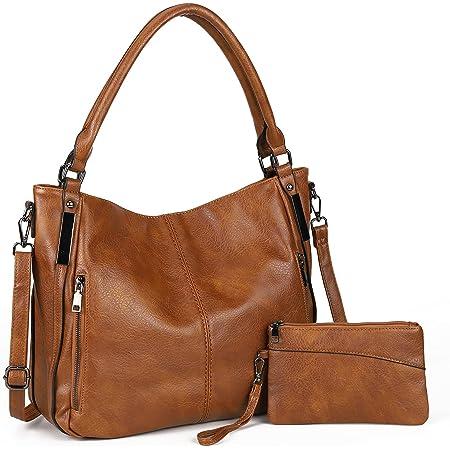 Damen Handtaschen Groß Shopper Lederhandtasche Schultertasche Umhängetasche Geldbörse Hobo Damen Taschen Set 2pcs(Braun)