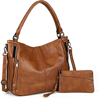 Damen Handtaschen Groß Shopper Lederhandtasche Schultertasche Umhängetasche Geldbörse Hobo Damen Taschen Set 2pcs