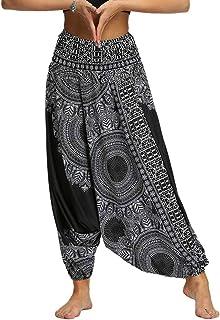 Nuofengkudu Hippie haremsbyxor för kvinnor drop crotch byxor