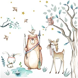 Little Deco Stickers bosdieren & beer I muurschildering 116 x 102 cm (B x H) I boom haas sterren muurstickers kinderen muu...