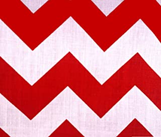 Big Chevron Red Poly Cotton 60 Inch Fabric By the Yard (F.E.)