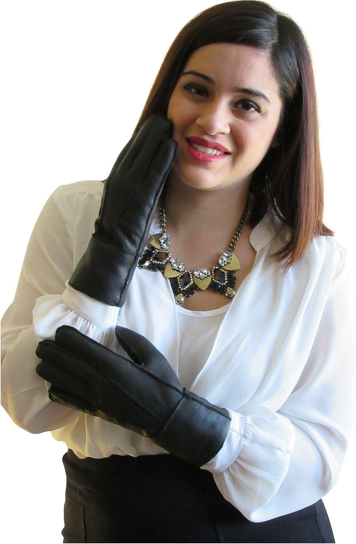 FursNewYork Women's Genuine Shearling Sheepskin Gloves