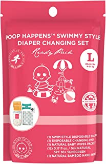 Little Toes On The Go Swimmy Style One Complete Natural Diaper Change Set with Swim Diaper, Baby Sunscreen, Diaper Cream, Baby Wipes, Hand Wipes and Disposable Changing Pad (Large 27+lbs)