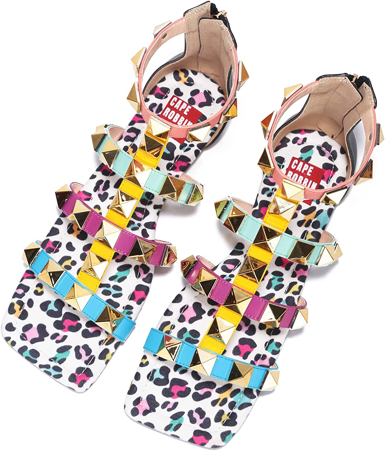 Cape Robbin Presents Play Zimza Sandals Slides for Women, Studded Womens Mules Slip On Shoes