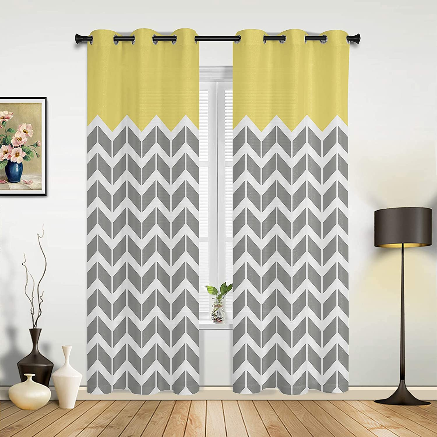 Window Sheer Curtains Super sale period limited for Bedroom Yellow Bombing new work Room Herringbone Living