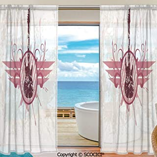 Shutters Decorative Sheer Curtains for Kitchen Window Drapes with Rod Pocket for Small Windows,2 Panels,Guitar,Grunge Instrument in Circular Frame with Floral Elements Vintage Artistic Decorative,Cor