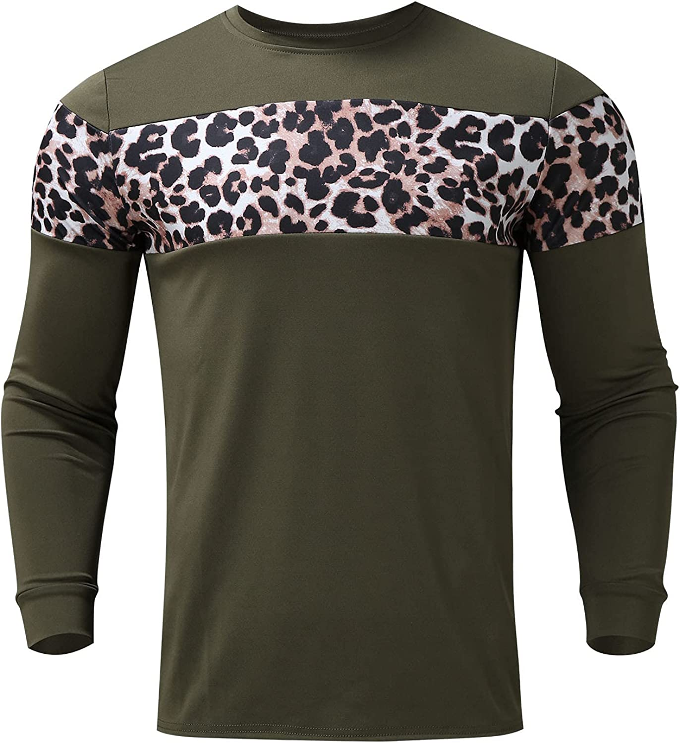 free shipping Tops for Men Leopard lowest price Stitching Printed Fashio Long O Sleeve Neck