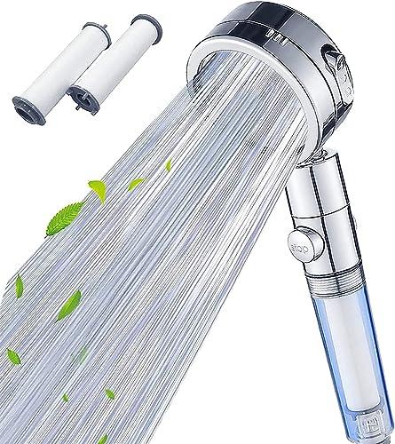 【2021年新版】シャワーヘッド 節水 塩素除去 浄水 高水圧 止水ボタン3段階モード 角度調整 漏水防止 浄水フィルター2本付き
