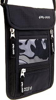 My-JAXO Premium Family Travel Neck Pouch Wallet Safety Passport Holder Men Women RFID Blocking Black Grey
