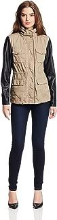 faux leather sleeve anorak jacket